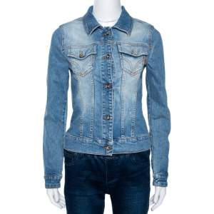 D&G Blue Medium Washed Denim Button Front Jacket M