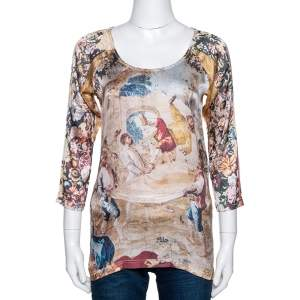 D&G Beige Abstract Printed Stretch Silk Long Sleeve Top M