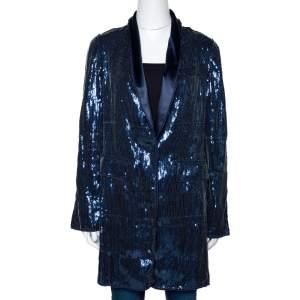 D&G Navy Blue Sequin Embellished Silk Blend Mid Length Jacket M