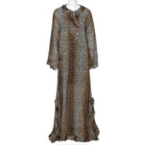 D&G Brown Animal Print Cotton Ruffled Maxi Tunic Dress S