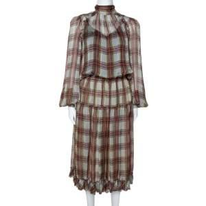 D&G Grey Plaid Print Silk Ruffled Midi Dress M