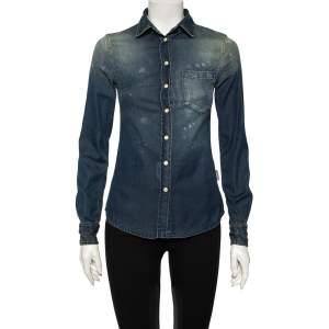 Dolce & Gabbana Blue Faded Effect Denim Shirt XS