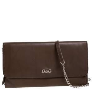 Dolce & Gabbana Brown Leather Flap Chain Clutch