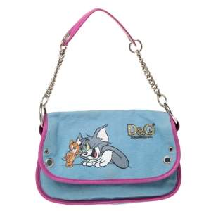 D&G Light Blue/Pink Tom and Jerry Print Canvas and Leather Flap Chain Shoulder Bag
