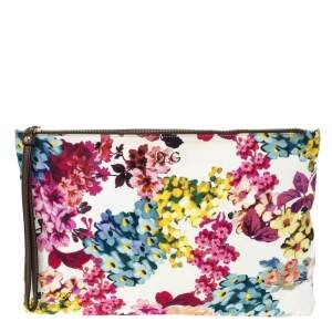 D&G Multicolor Floral Print Canvas Zip Clutch
