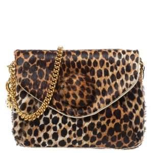 D&G Brown Leopard Print Calfhair Flap DG Charm Chain Shoulder Bag