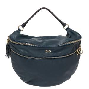 D&G Blue Leather Jeri Top Handle Bag