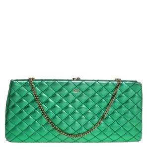 D & G Metallic Green Quilted Leather Vania Chain Clutch