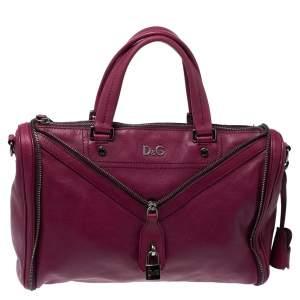 DandG Purple Soft Leather Vilma Satchel