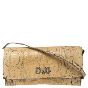 D & G Beige Snakeskin Effect Leather Sasha Shoulder Bag
