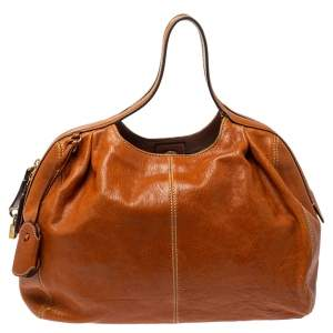 DandG Tan Leather Zip Handle Hobo