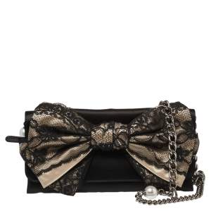 D&G Black/Beige Satin and Lace Bow Maika Chain Clutch