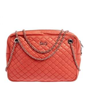 DandG Coral Orange Quilted Leather Lily Glam Shoulder Bag