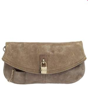 DandG Beige Leather Karen Clutch