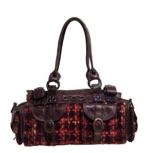D&G Brown/Orange Tweed and Leather Satchel