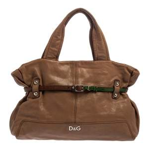 D&G Brown Leather With Green Patent Strap Bag Isotta Tote