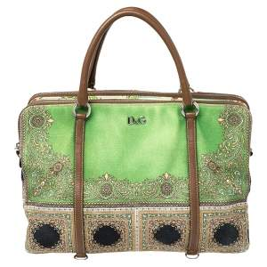 DandG Multicolor Print Canvas and Leather Lily Twist Satchel
