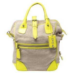 D&G Neon Green/Beige Canvas and Patent Leather Olivia Convertible Backpack