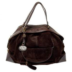 D&G Dark Brown Suede and Leather Janet Satchel