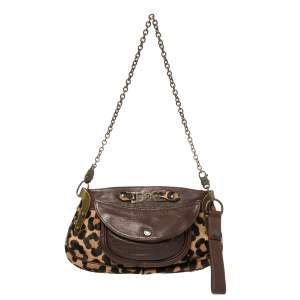 Dolce and Gabbana Leopard Print Pony Hair and Leather Shoulder Bag