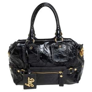D&G Black Patent Leather Frame Front Pocket Bag