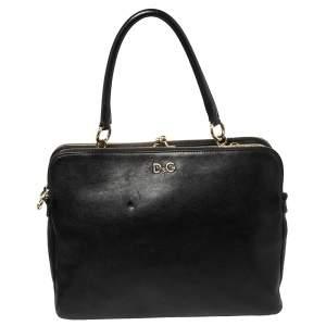 D & G Black Leather Lily Twist Kiss Lock Top Handle Bag