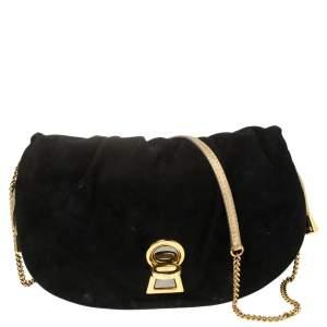 D&G Black Suede and Leather Trim Vlada Shoulder Bag