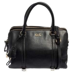 D&G Black Leather Lily Twist Satchel