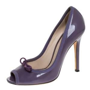 D&G Purple Patent Leather Bow Peep Toe Pumps Size 37