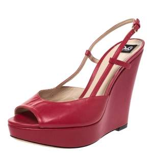 Dolce & Gabbana Pink Leather Peep Toe Wedge Slingback Sandals Size 36.5