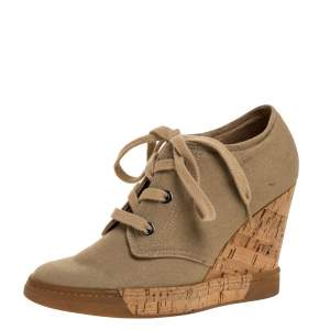 DandG Beige Canvas Wedge Lace Up Sneakers Size 38