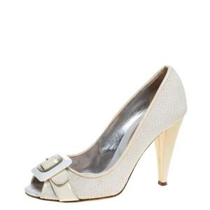 D&G White/Cream Woven Fabric And Patent Leather Buckle Peep Toe Pumps Size 38