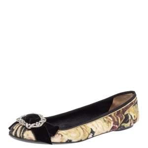 D&G Multicolor Velvet Crystal Bow Embellished Ballet Flats Size 40