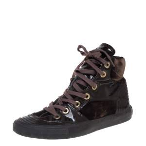 D&G Brown Patent Leather and Velvet High Top Sneakers Size 36