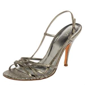 D&G Metallic Crackled Leather Strappy Slingback Sandals Size 41