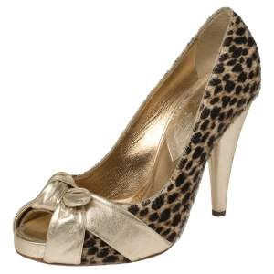 Dolce & Gabbana Gold Leather and Pony Hair Knotted Peep Toe Pumps Size 40