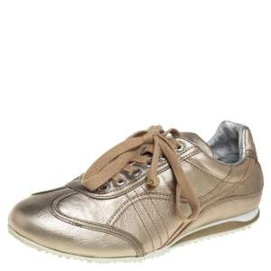 D&G Metallic Gold Leather Lace Up Low Top Sneakers Size 36.5
