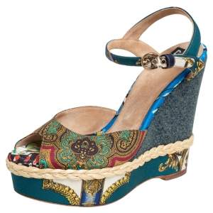 Dolce & Gabbana Multicolor Printed Fabric Wedge Sandals Size 39