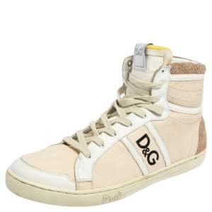 D&G Cream/White Leather Lace High Top Sneakers Size 40
