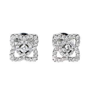 De Beers Enchanted Lotus Diamond 18K White Gold Stud Earrings