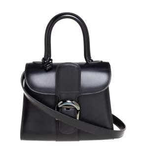 Delvaux Black Leather Mini Le Brillant Top Handle Bag