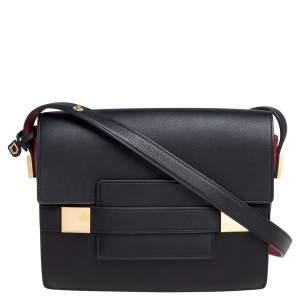 Delvaux Black/Red Leather Madame PM Shoulder Bag