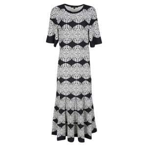 فستان ميدي ديريك لام ميداليون مونوكرومي دانتيل جاكار تريكو M