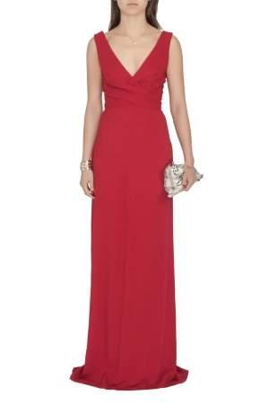 Derek Lam Burgundy Criss Cross Pleated Bodice Sleeveless Gown XS