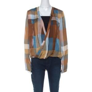 Derek Lam Brown & Blue Silk Check Draped Cross Over Front Blouse L