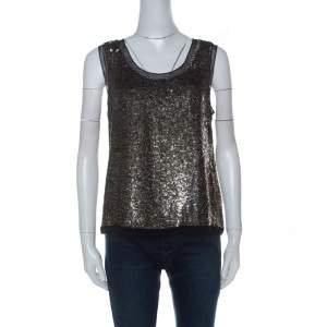 Derek Lam Metallic Sequin Embellished Silk Sleeveless Top M