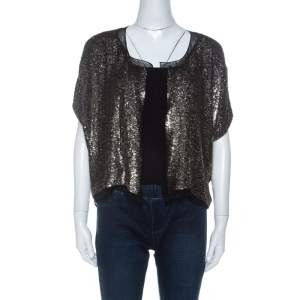 Derek Lam Metallic Sequin Embellished Silk Bolero M