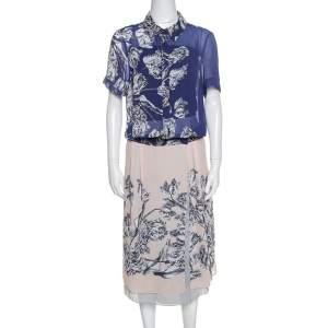 فستان ديريك لام قصير كريب طباعة زهور ثنائي اللون L