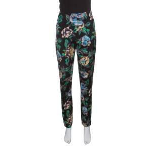 Diane Von Furstenberg Black Floral Printed Benton High Waist Skinny Pants L