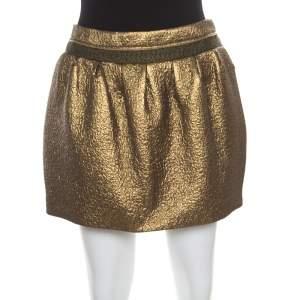 Diane Von Furstenberg Metallic Gold Gathered Addie Jacquard Mini Skirt M